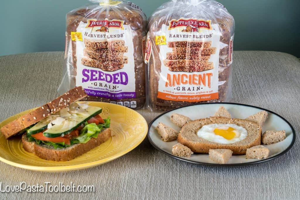 Try not one but two delicious recipes using Pepperidge Farm® Harvest Blend Breads. A simple and yummy breakfast recipe and a healthier lunch recipe!