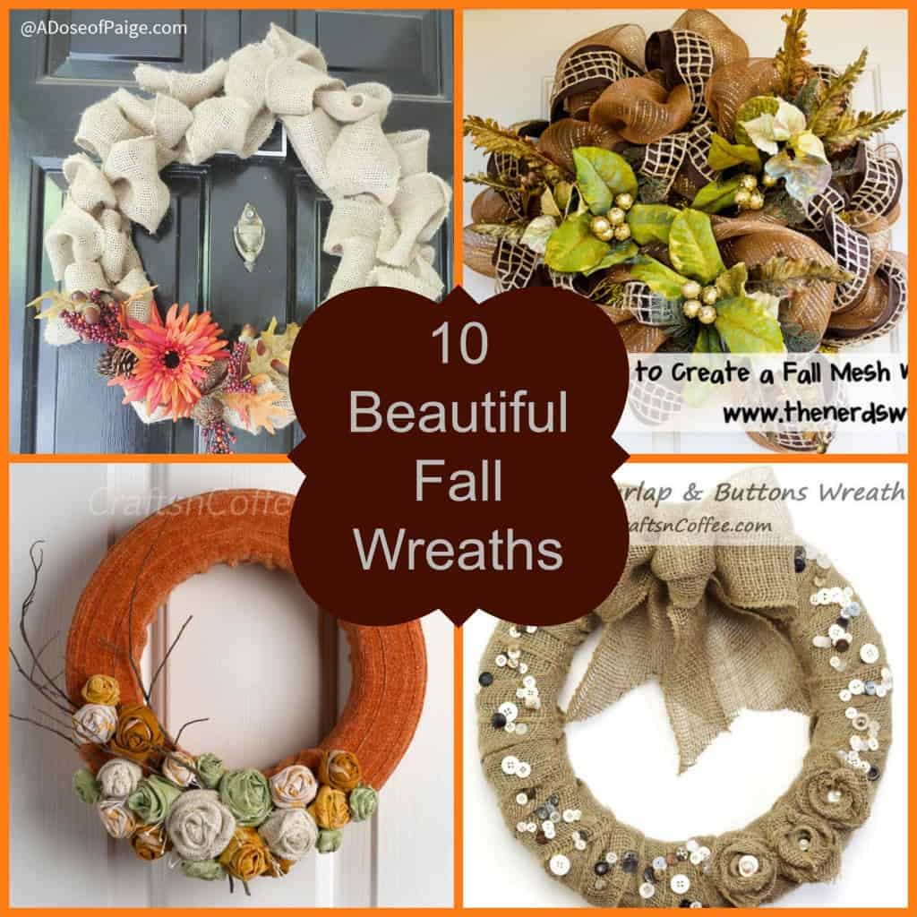Fall is here, check out these 10 Beautiful Fall Wreaths to add some fall decor to your front door- Love, Pasta and a Tool Belt