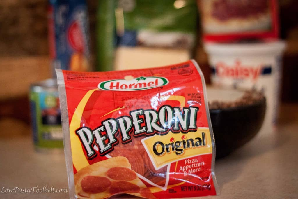 Pizza Casserole with Hormel Pepperoni is the perfect dinner recipe- Love, Pasta and a Tool Belt #PepItUp #Ad | pizza | recipes | dinner | pepperoni | casserole |