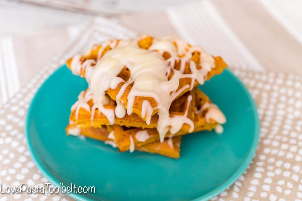Add some fall to your breakfast with these Pumpkin Pie Waffles which are made complete with a delicious cream cheese glaze.