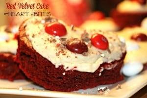 Red Velvet Cake Heart Bites