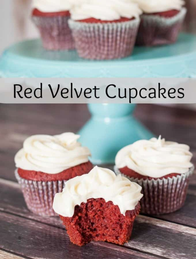 These are the most delicious homemade Red Velvet Cupcakes with a perfect cream cheese frosting- Love, Pasta and a Tool Belt | desserts | recipes | food | cupcakes | red velvet | sweets | cake |