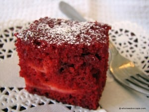 Red velvet squares with cream cheese filling
