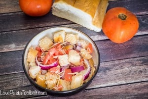 Mix up your salad game with this recipe for a Rustic Bread Salad- Love. Pasta and a Tool Belt | recipes | side dish | salad ideas | food | menu |