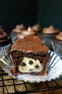 Salted Dark Chocolate Cookie Dough Cupcakes
