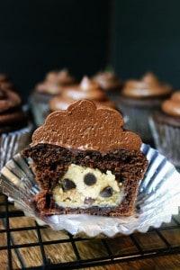 Salted Dark Chocolate Cookie Dough Cupcakes