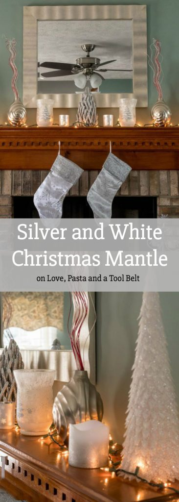Get started on your Christmas decorating with this Silver and White Christmas Mantle Inspiration #BigLotsHoliday #ad