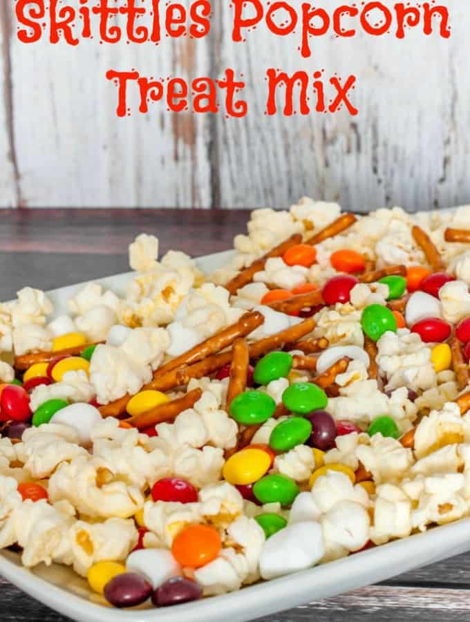 Skittles Popcorn Treat Mix- Love, Pasta and a Tool Belt #ad #SkittlesTourney | skittles | popcorn | desserts | recipes | food |
