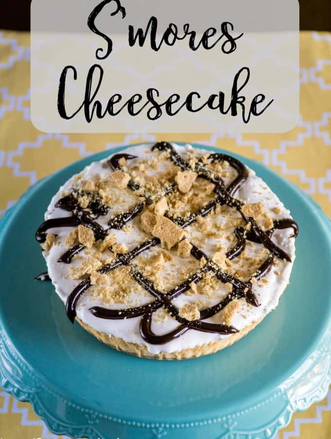 Add some fun toppings and create your own S'mores Cheesecake- Love, Pasta and a Tool Belt #SaraLeeDesserts #Pmedia #ad | desserts | dessert recipes | cake | smores |