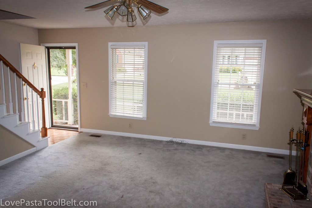 Living room reveal before and after love pasta and a - Carpet colors for white walls ...