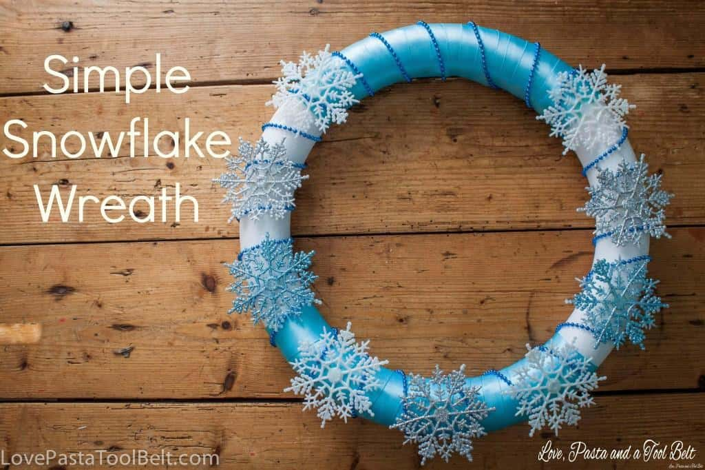 Simple Snowflake Wreath- Love, Pasta and a Tool Belt | wreath | DIY | crafts | Frozen | snowflakes |