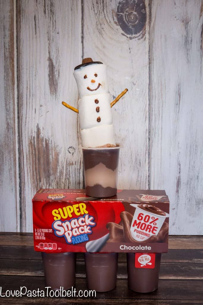 Add some fun to your pudding with these Snowmen Pudding Cups!- Love, Pasta and a Tool Belt #SnackPackMixins #ad | Desserts | Christmas | Treats | Dessert Ideas |