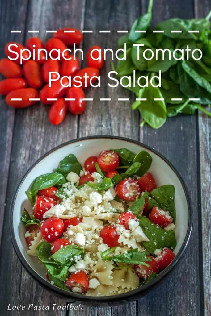 Spinach and Tomato Pasta Salad is a great summer recipe- Love, Pasta and a Tool Belt | recipes | pasta salad | dinner | lunch |