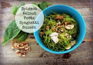 Spinach Walnut Pesto Spaghetti Squash