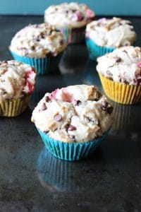 Strawberry Peanut Butter Chocolate Chip Muffins
