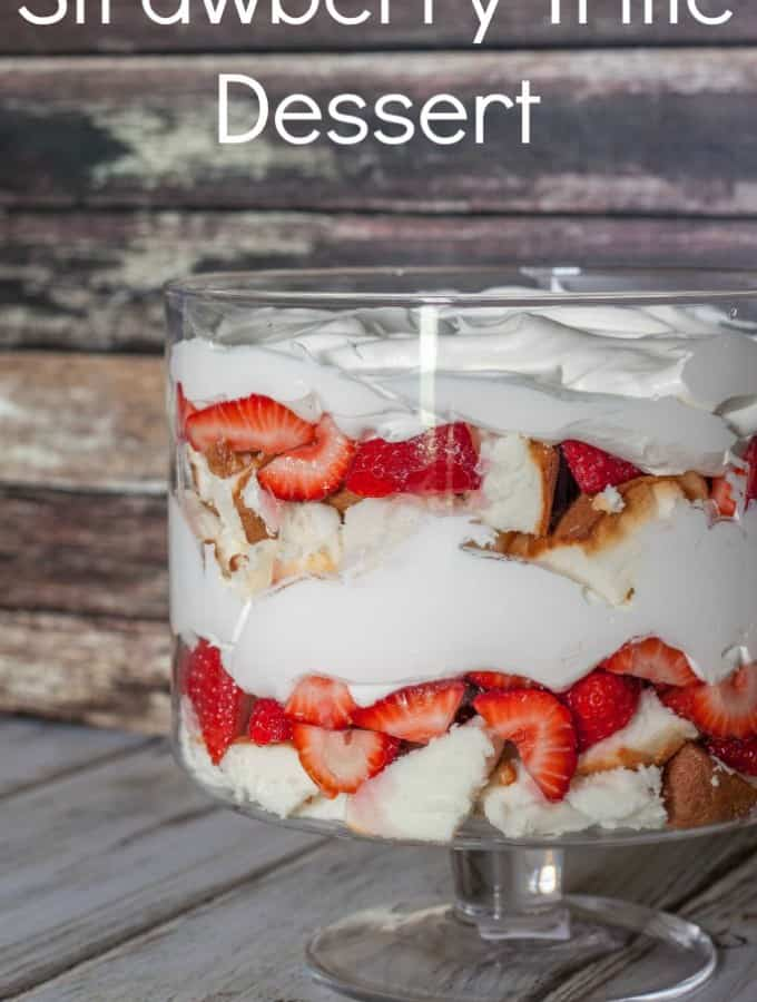 Beat the heat with this chilled Strawberry Trifle Dessert- Love, Pasta and a Tool Belt | desserts | trifle | strawberries | angel food cake | cake | cool whip | cold desserts |