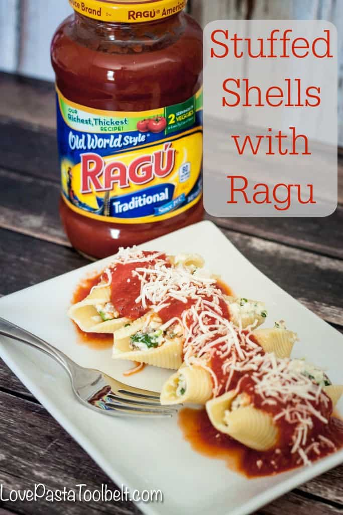 Start a new family mealtime tradition with these Stuffed Shells with Ragu- Love, Pasta and a Tool Belt #SimmeredInTradition #ad | pasta | recipes | dinner ideas | family meal time | recipe ideas |
