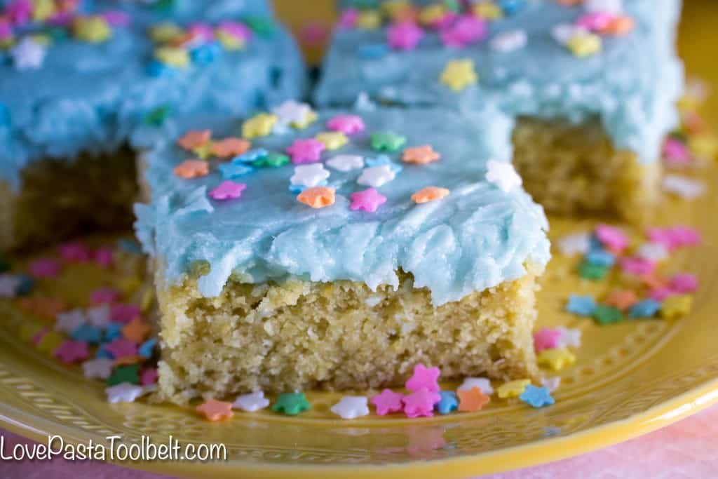 Thick, delicious and covered in frosting, these Sugar Cookie Bars will be your new favorite dessert!- Love, Pasta and a Tool Belt | desserts | Easter | dessert recipes | sweets |