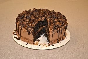 Triple Chocolate Candy Cake with Twix