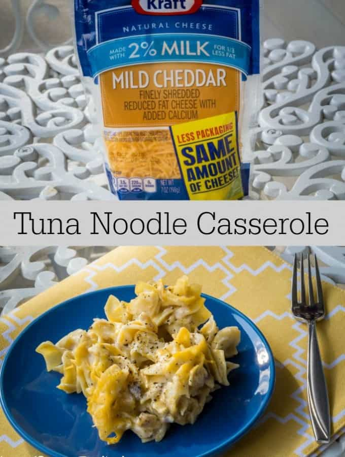 Make weeknights easier with this Tuna Noodle Casserole- Love, Pasta and a Tool Belt | dinner | easy dinner ideas | recipes | pasta | noodles | #NaturallyCheesy #ad