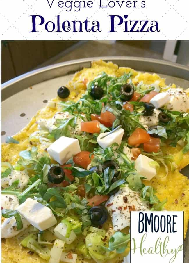 Welcome to my contributor Betsy from BMoore Healthy as she shares her recipe for Veggie Lover's Polenta Pizza- Love, Pasta and a Tool Belt | healthy recipes | recipe ideas | food | vegetables | meatless meal |
