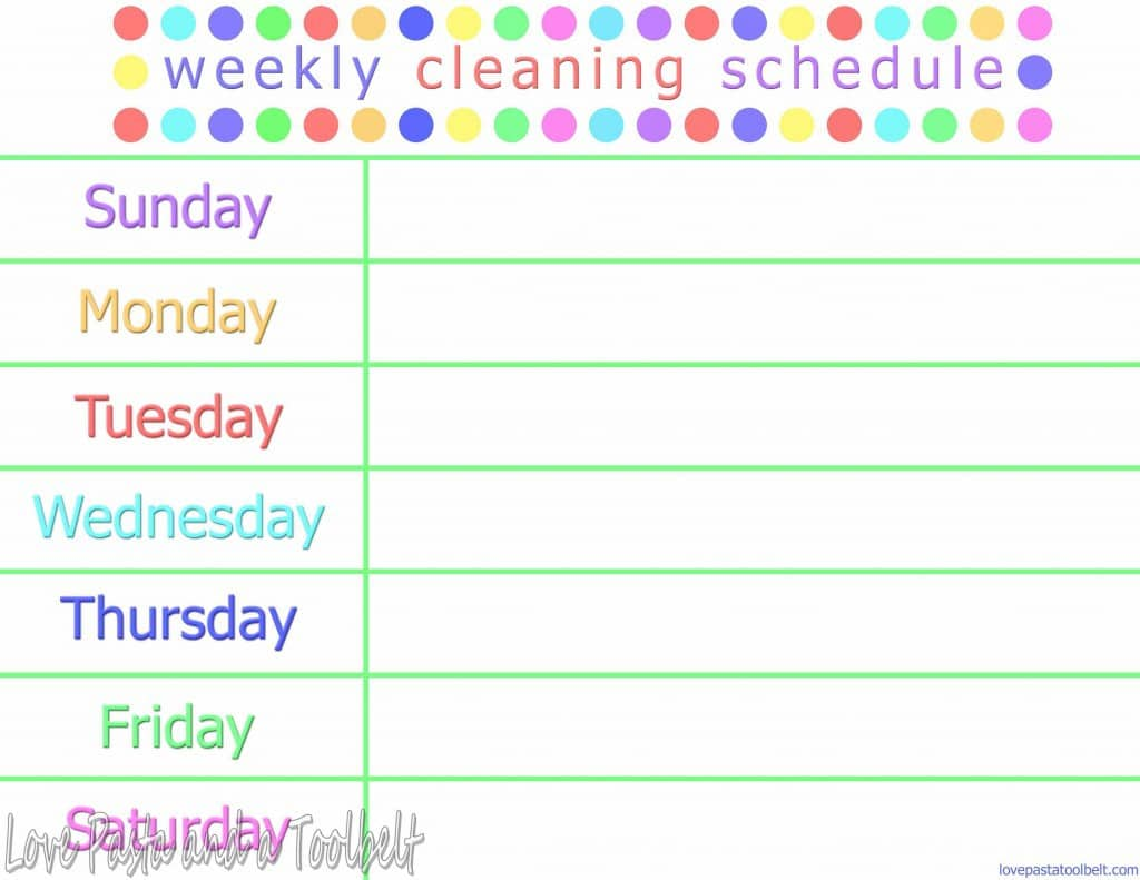 Weekly Cleaning Schedule with free printable- Love, Pasta and a Tool Belt | free printable | cleaning | schedule | cleaning printable |