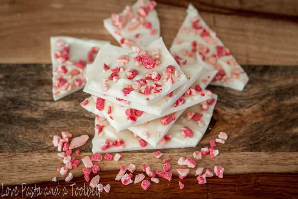 White Chocolate Peppermint Bark- Love, Pasta and a Tool Belt | recipes | desserts | white chocolate | peppermint | holidays | Christmas