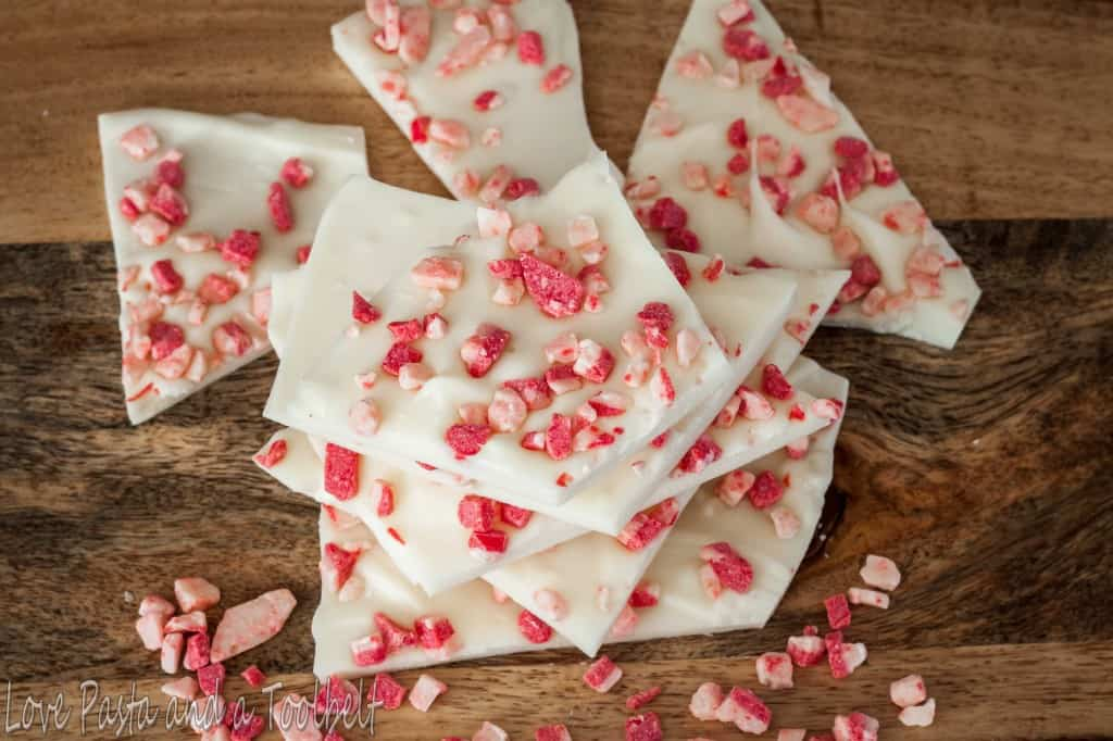 White Chocolate Peppermint Bark- Love, Pasta and a Tool Belt | recipes | desserts | white chocolate | peppermint |