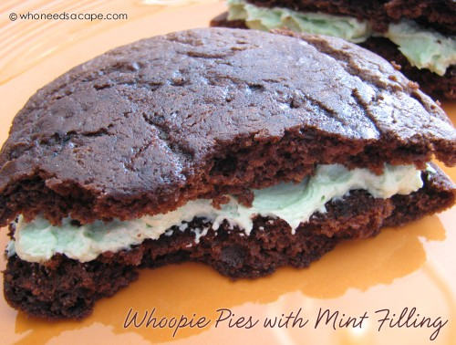 Whoopie Pies with Mint Filling from Who Needs a Cape?