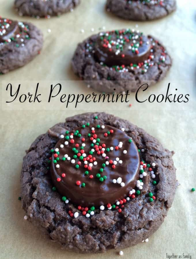 My contributor Jessica is sharing her recipe for York Peppermint Cookies, minty, chocolate and delicious!- Love, Pasta and a Tool Belt | Christmas | cookies | recipes | food | desserts | dessert recipes |