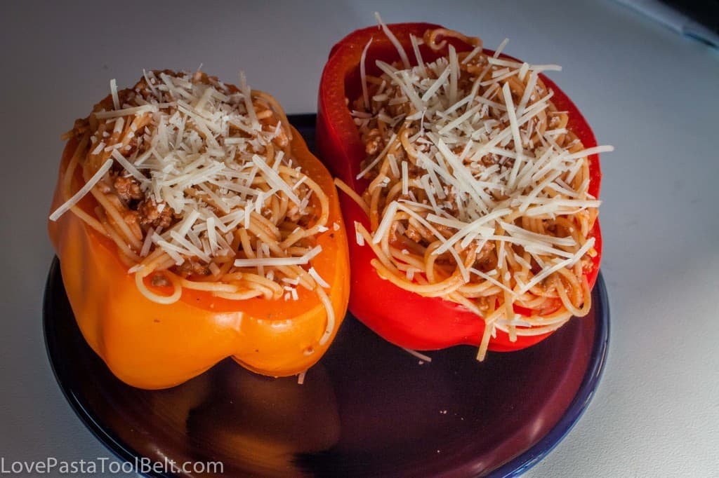 Spaghetti Stuffed Bell Peppers - Love, Pasta, and a Tool Belt