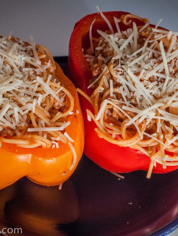 Spaghetti Stuffed Bell Peppers